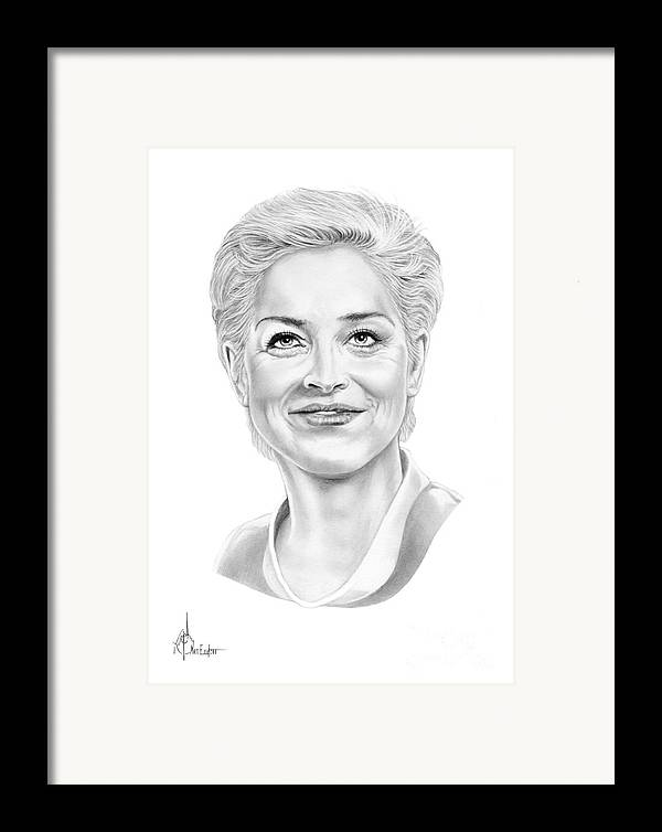 Drawing Framed Print featuring the drawing Sharon Stone by Murphy Elliott