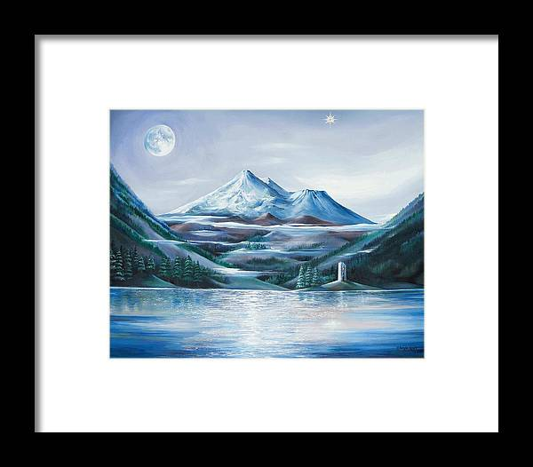 Mystical Landscape Framed Print featuring the painting Shasta Water by Kathleen Boyle Magnuson