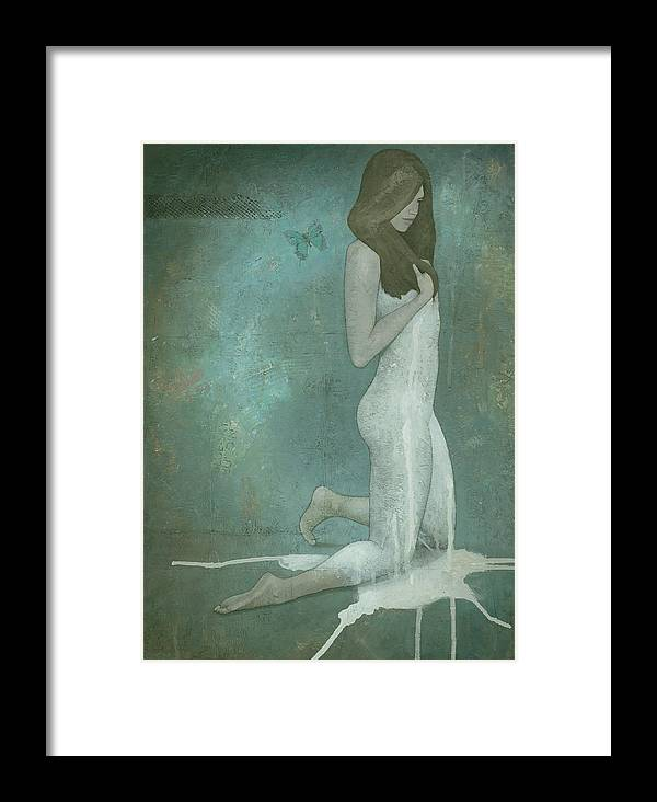 Green Framed Print featuring the painting Shavata by Steve Mitchell