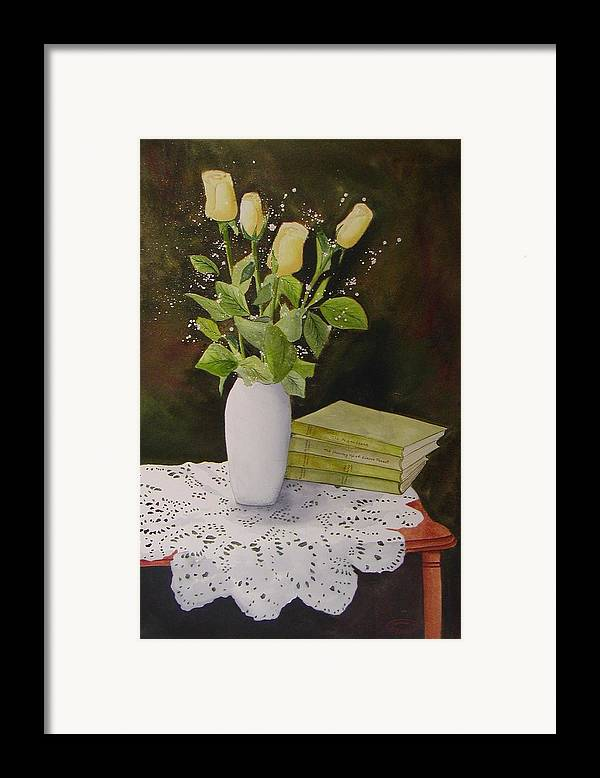 Watercolour Framed Print featuring the painting Shaw And Yellow Roses by Sharon Steinhaus