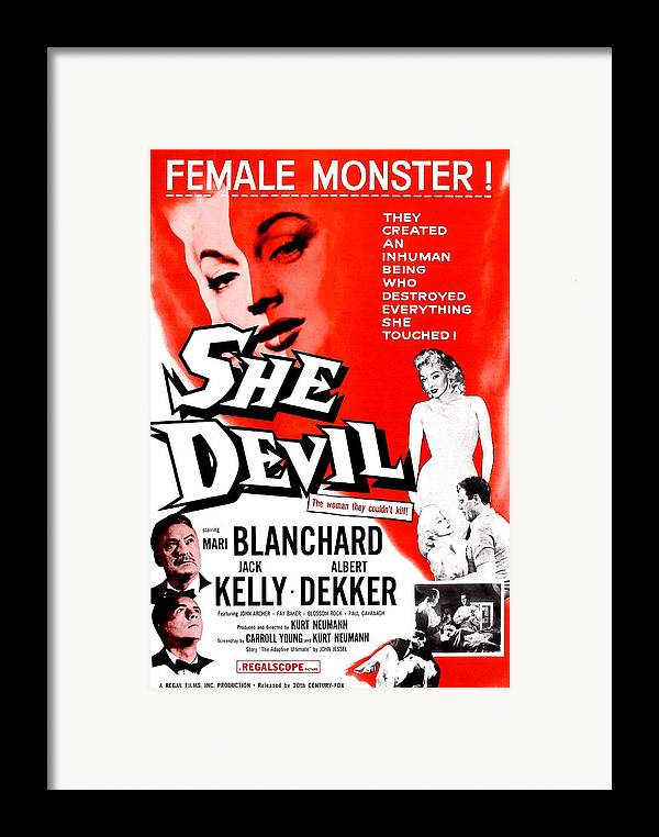 1950s Poster Art Framed Print featuring the photograph She Devil, Blonde Woman Featured by Everett