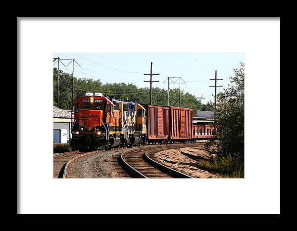Train Framed Print featuring the photograph She Is Coming Around The Bend by David Dunham