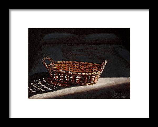 Basket Framed Print featuring the drawing She is sleeping by Keith Gantos