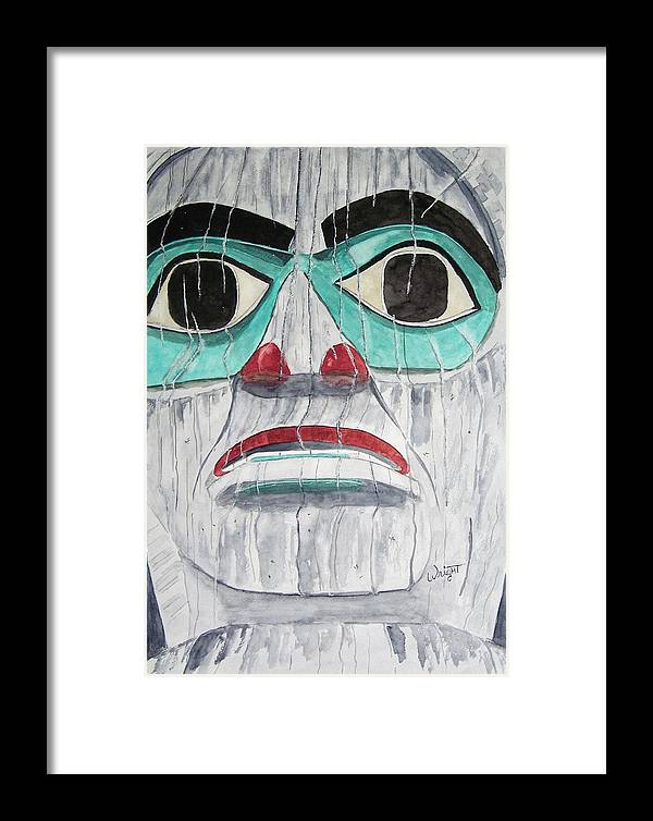Alaska Totem Figure Framed Print featuring the painting She Is Tlingit by Larry Wright