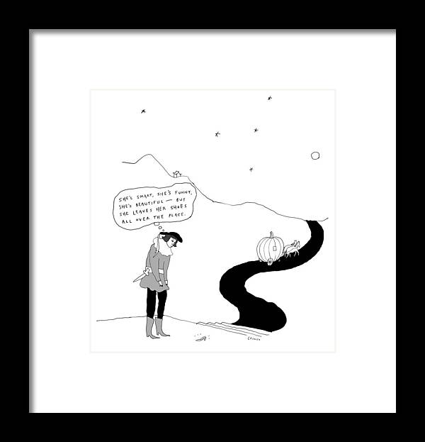 """""""she's Smart Framed Print featuring the drawing She leaves her shoes all over the place by Liana Finck"""