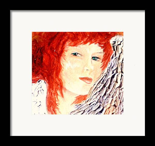 Angel Framed Print featuring the painting She Rests On Wings by J Bauer