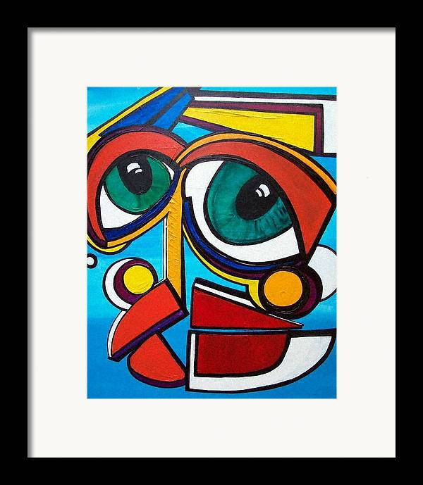 Abstract Framed Print featuring the painting She by Valerie Wolf