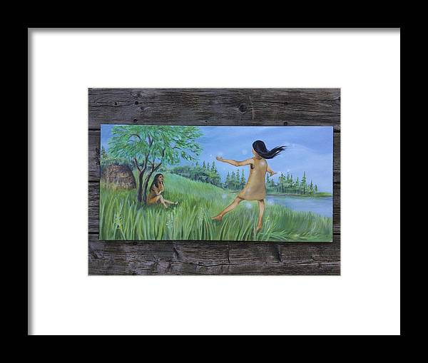 Dance Framed Print featuring the painting She Was A Happy Child by Owisokon Lahache
