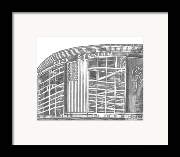 Shea Stadium Framed Print featuring the drawing Shea Stadium by Juliana Dube