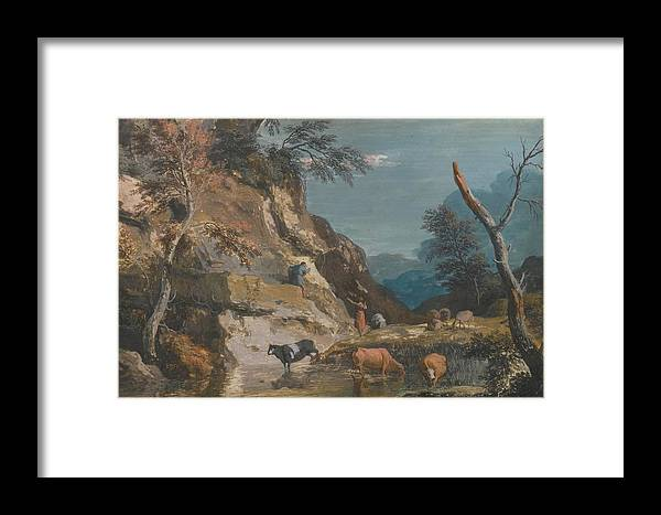 Marco Ricci An Upland Landscape With Cattle At A Pool Framed Print featuring the painting Sheep And Three Peasants Below A Cliff by Marco Ricci