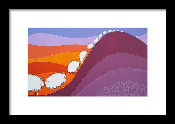 Mountains Framed Print featuring the painting Sheep by Patricia Van Lubeck