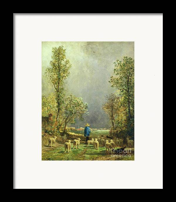 Sheep Framed Print featuring the painting Sheep Watching A Storm by Constant-Emile Troyon