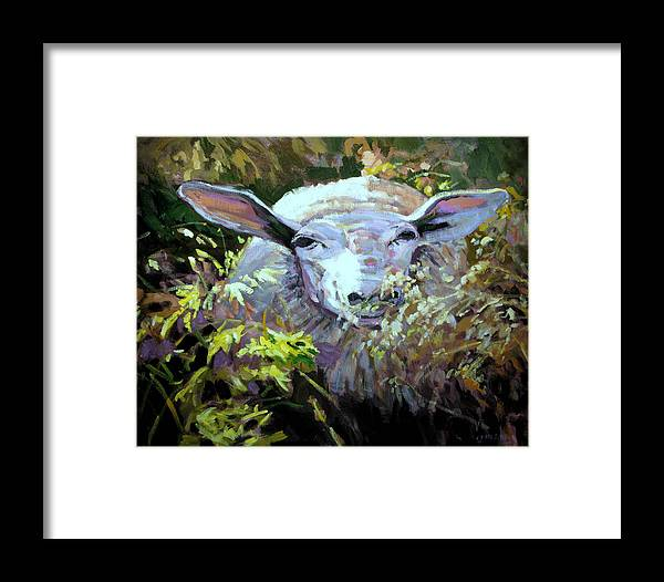 Animals Framed Print featuring the painting Sheepish by Brian Simons