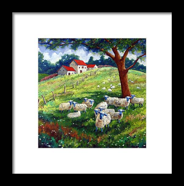 Sheep Framed Print featuring the painting Sheeps In A Field by Richard T Pranke
