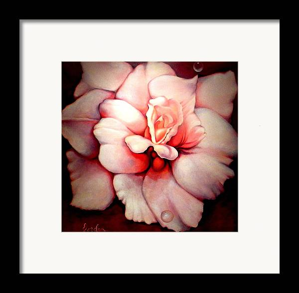 Blooms.large Rose Framed Print featuring the painting Sheer Bliss by Jordana Sands