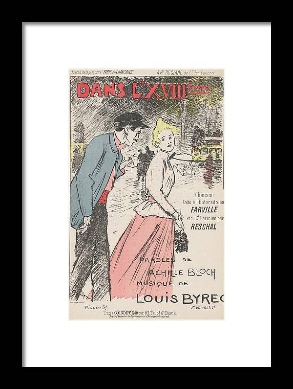 Girl Framed Print featuring the painting Sheet Music Dans Lxviiieme By Achille Bloch And Louis Byrec, Performed By Farville And Reschal Theo by Farville and Reschal Theophile Alexandre Steinlen