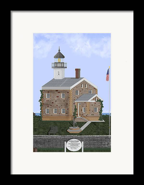 Lighthouse Framed Print featuring the painting Sheffield Island Lighthouse Connecticut by Anne Norskog