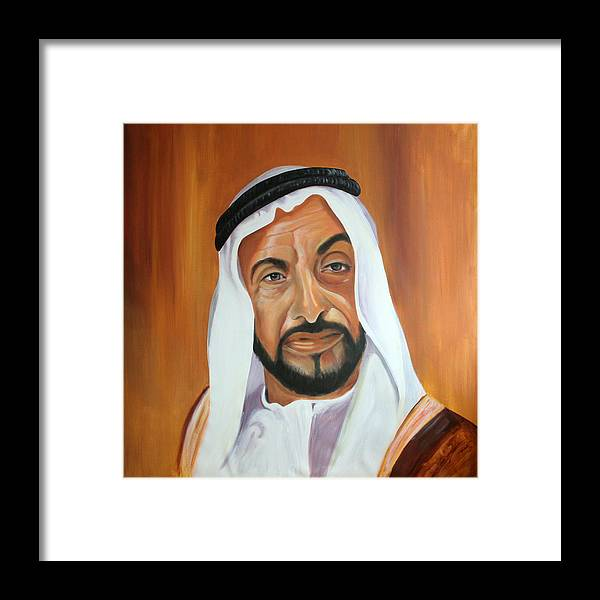 Abu Dhabi Framed Print featuring the painting Sheikh Zayed Bin Sultan Al Nahyan by Fiona Jack