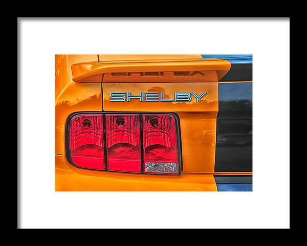 Shelby Framed Print featuring the photograph Shelby Tail Light by Mike Martin