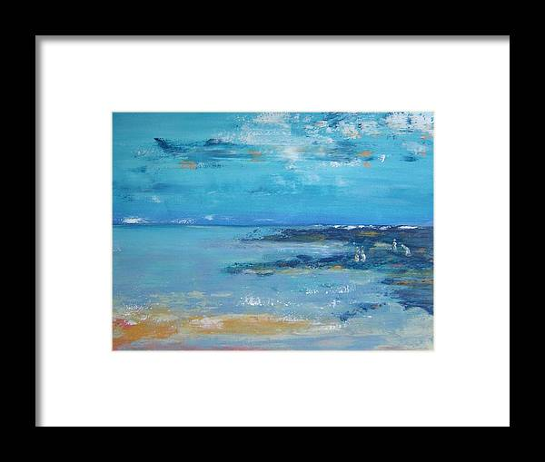 Seascape Framed Print featuring the painting Shell Collectors by Bridgette Allan