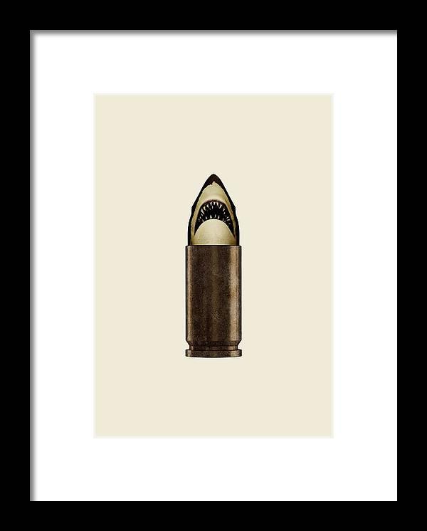 Bullet Framed Print featuring the digital art Shell Shark by Nicholas Ely