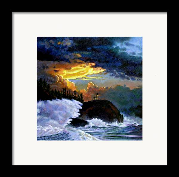 Ocean Framed Print featuring the painting Shelter From The Storm by John Lautermilch
