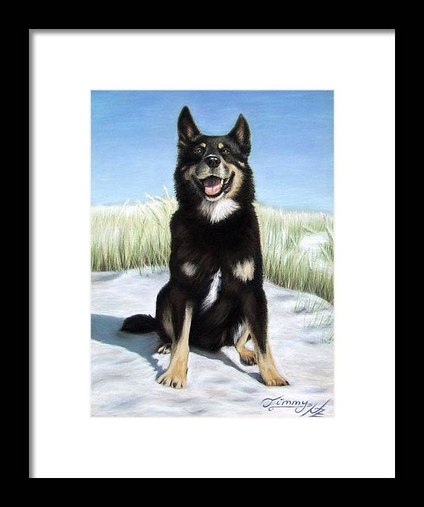 Dog Framed Print featuring the pastel Shepherd Mix Timmy by Nicole Zeug