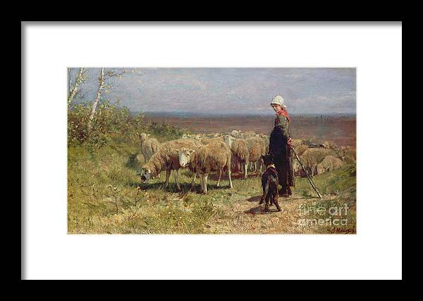 Shepherdess Framed Print featuring the painting Shepherdess by Anton Mauve