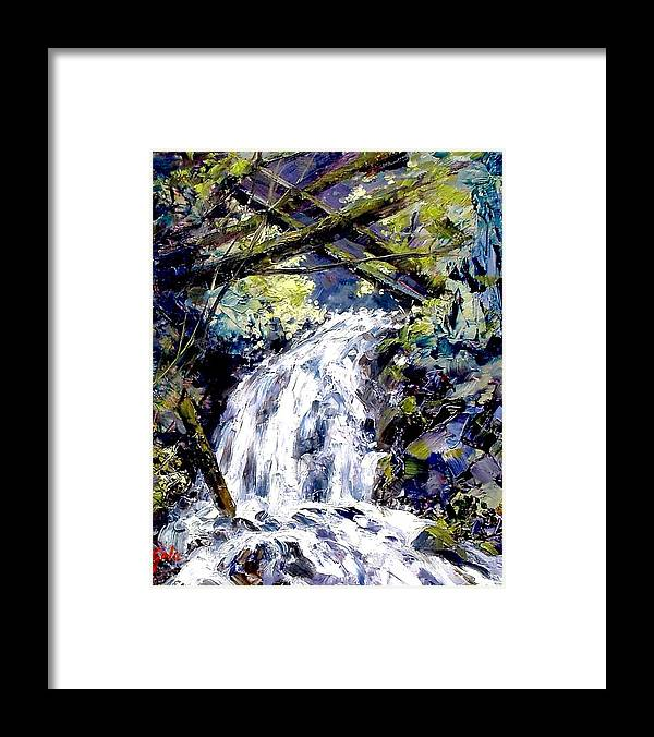 Landscape Framed Print featuring the painting Shepherds Dell Falls Coumbia Gorge Or by Jim Gola