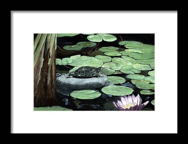 Turtle Framed Print featuring the painting Sherman Garden Turtle by Charles Parks