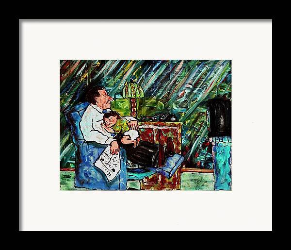 Sleep Framed Print featuring the painting Shhh.... by Richard Hubal
