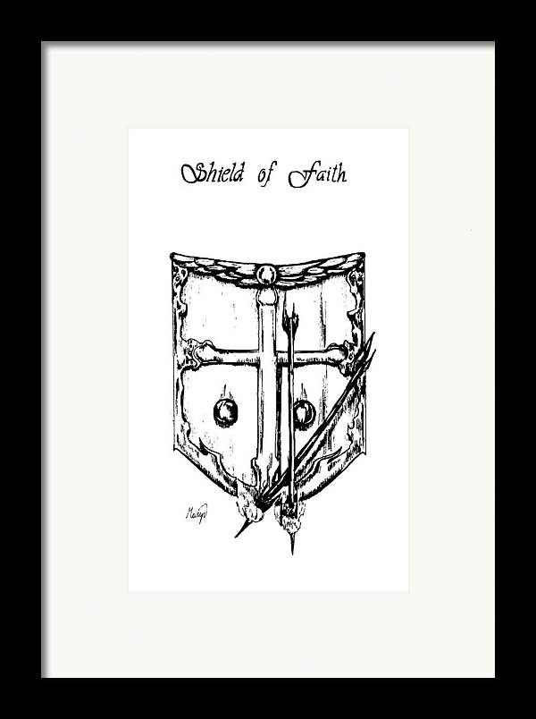 Shield Framed Print featuring the drawing Shield Of Faith by Maryn Crawford