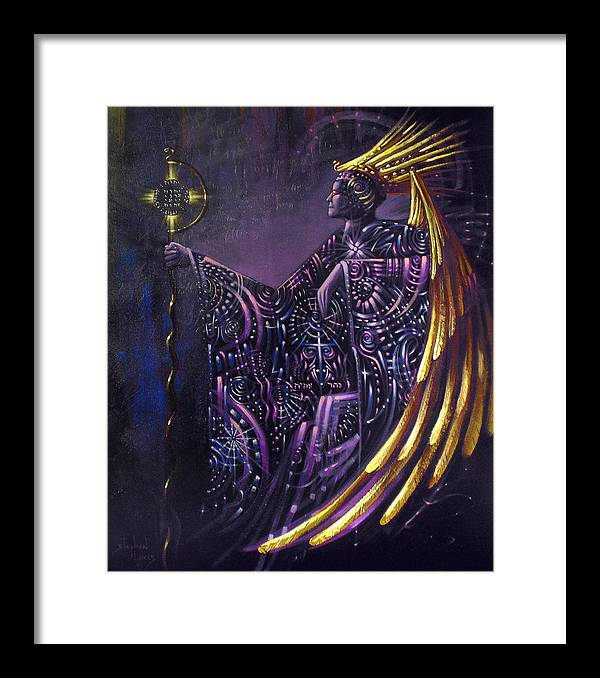 Oil Framed Print featuring the painting Shielded By Ineffable Names Thus I Rule by Stephen Lucas