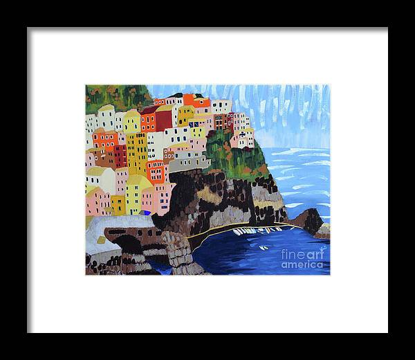 Cinque Terre Framed Print featuring the painting Shine - Cinque Terre, Italy by Nicole Werner Stevens