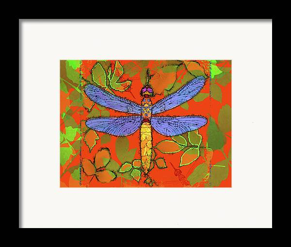 Dragonfly Framed Print featuring the digital art Shining Dragonfly by Mary Ogle