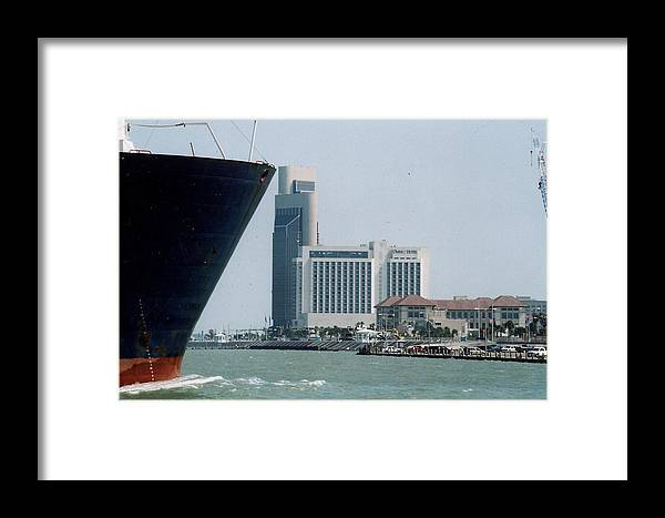 Marine Framed Print featuring the photograph Ship And Shoreline by Wendell Baggett