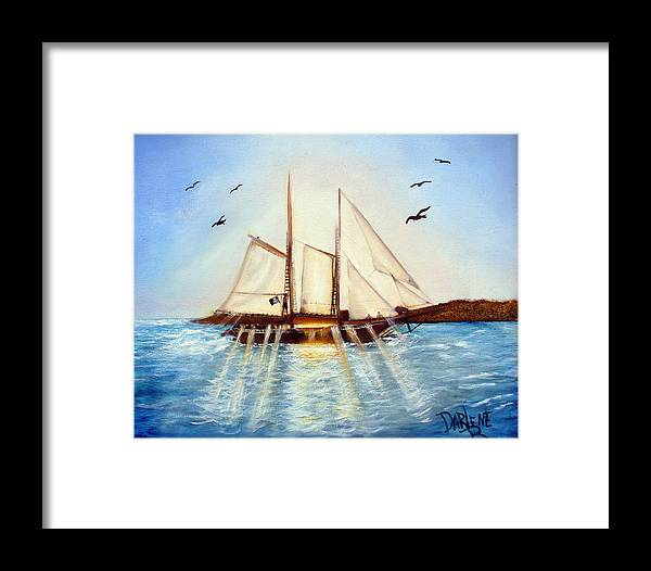 Ship Framed Print featuring the painting Ship At Mallory Square by Darlene Green