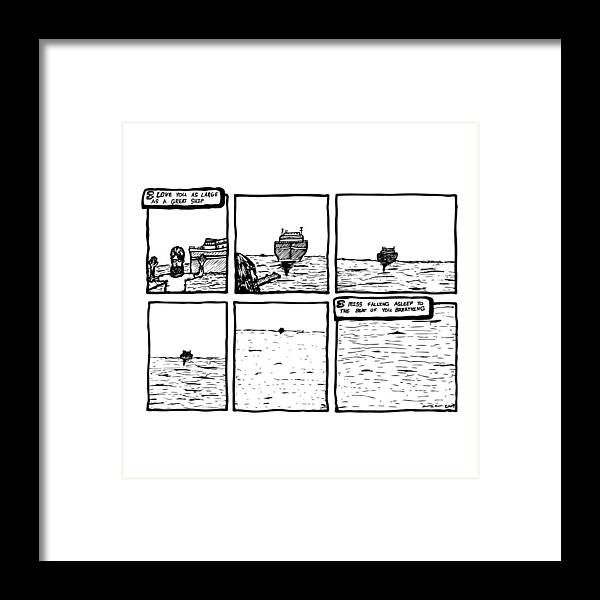 Drawing Framed Print featuring the drawing Ship Comic by Karl Addison