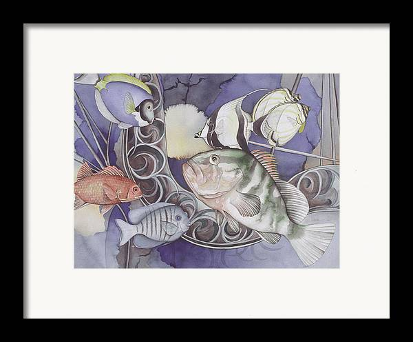 Sea Framed Print featuring the painting Ship Elements by Liduine Bekman