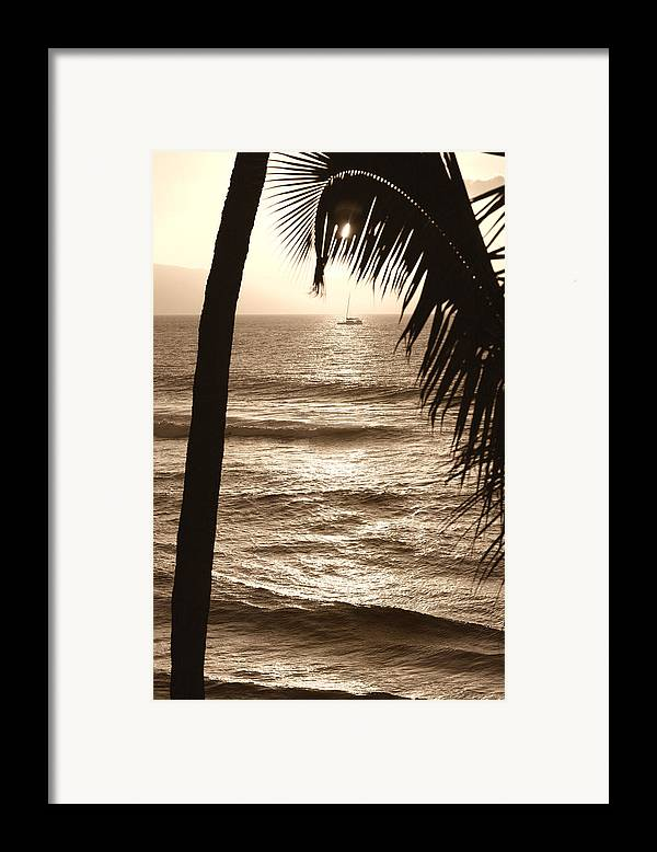 Hawaii Framed Print featuring the photograph Ship In Sunset by Marilyn Hunt