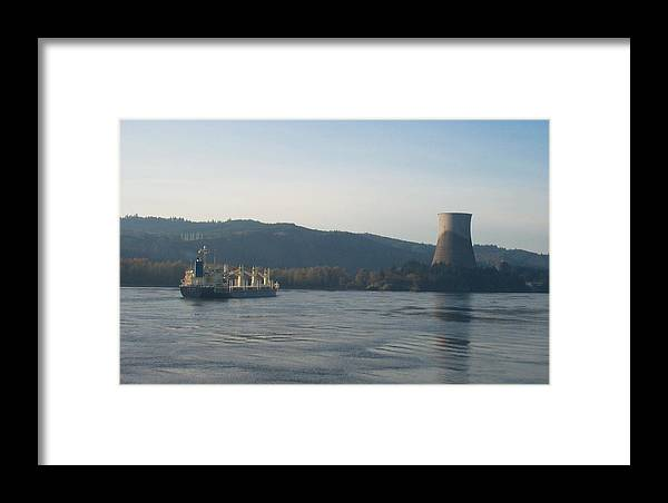 Ship Framed Print featuring the photograph Ship Passing The Now Demolished Trojan Nuclear Plant by Alan Espasandin