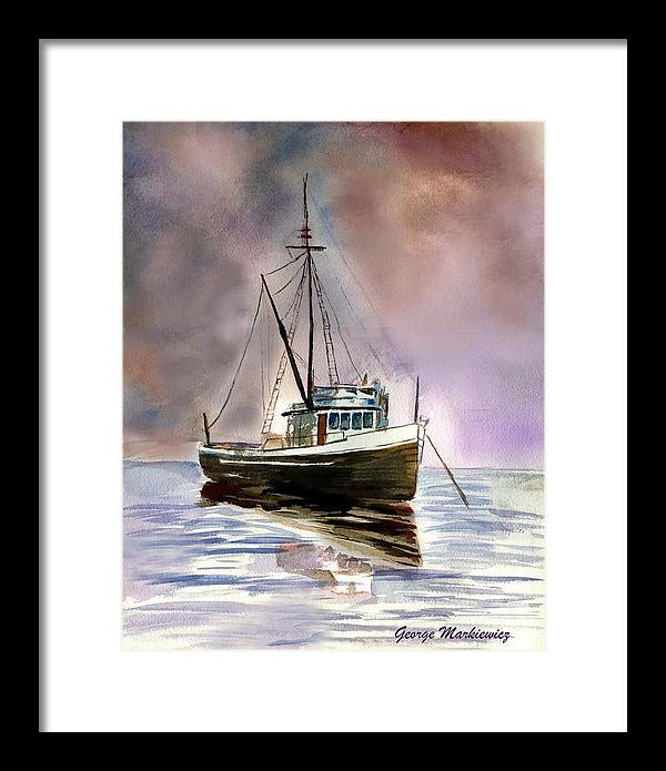 Ocean Boat Framed Print featuring the print Ship Stormy Weather by George Markiewicz