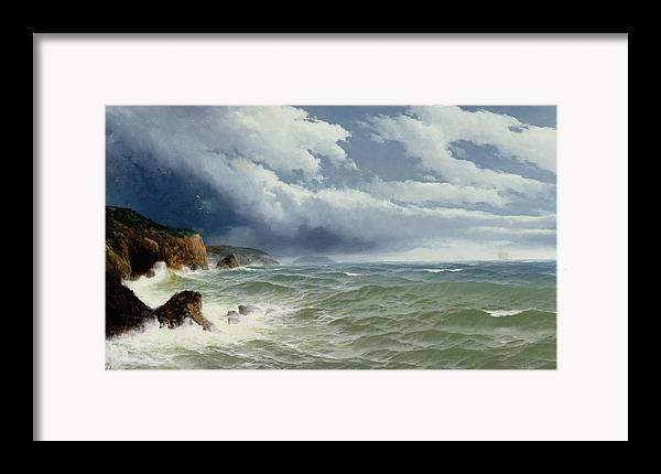 Shipping In Open Seas Framed Print featuring the painting Shipping In Open Seas by David James