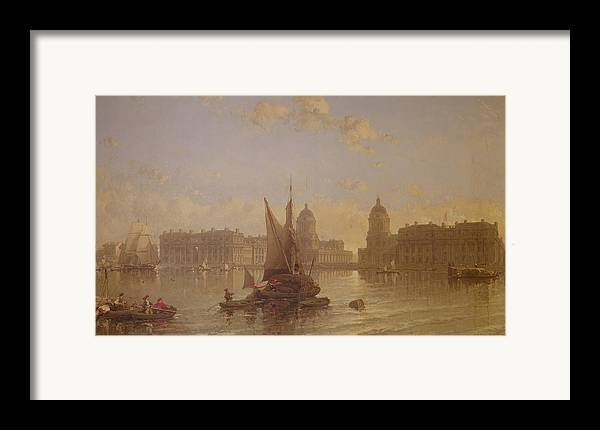 Shipping Framed Print featuring the painting Shipping On The Thames At Greenwich by David Roberts