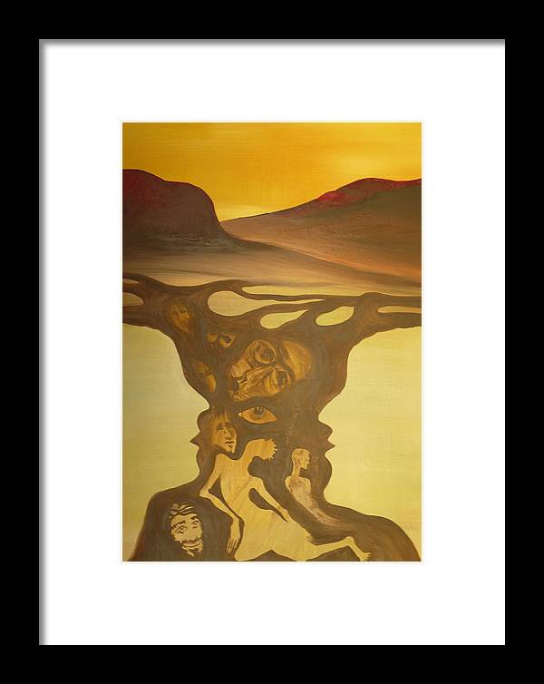 Surrealist Framed Print featuring the painting Shipwreck by Zsuzsa Sedah Mathe