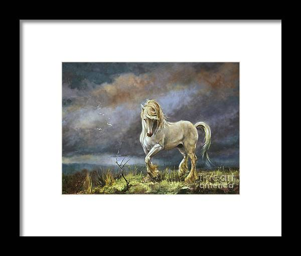 Shire Stallion Framed Print featuring the painting Shire Stallion by Silvia Duran