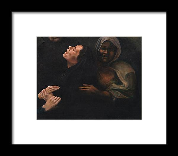 Women Framed Print featuring the painting Shock And Awe by Nancy Ethiel