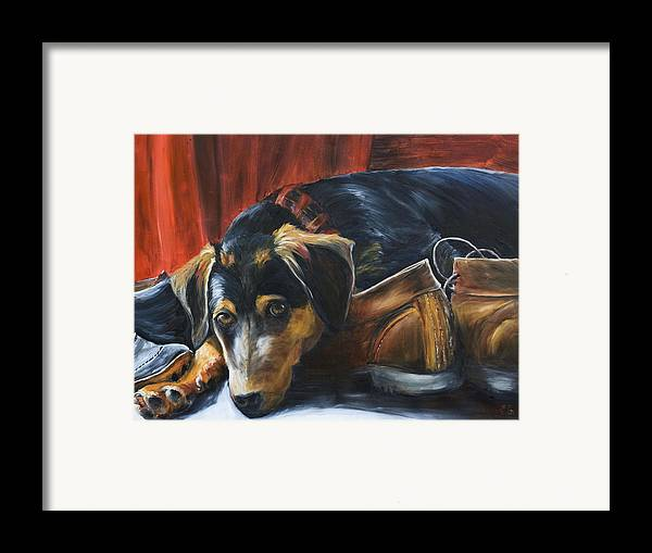 Dog Framed Print featuring the painting Shoe Dog by Nik Helbig