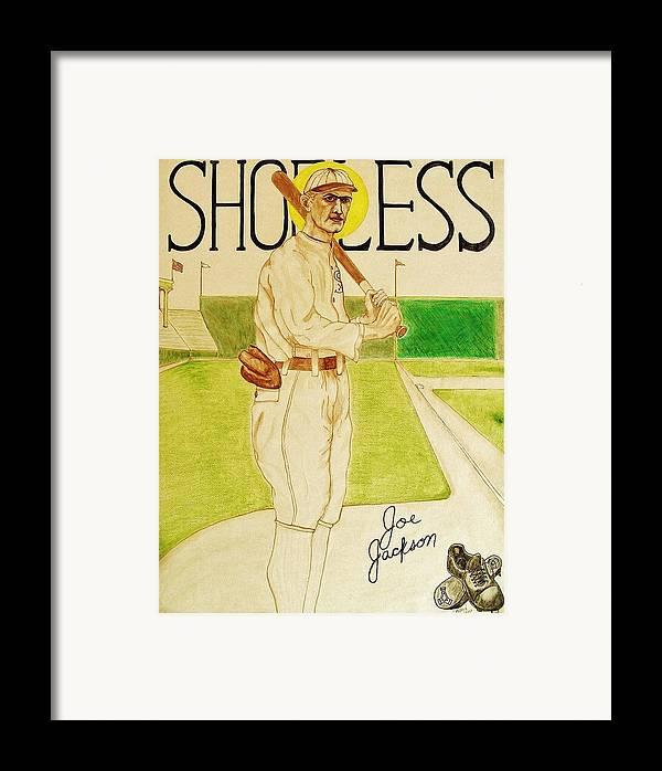 Shoeless Framed Print featuring the painting Shoeless Joe Jackson by Rand Swift