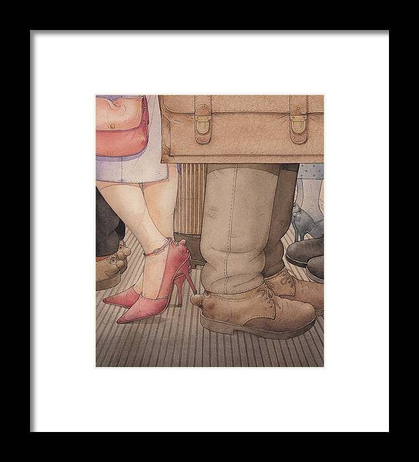 Shoes Flirt Metro Love Amour Framed Print featuring the painting Shoes by Kestutis Kasparavicius